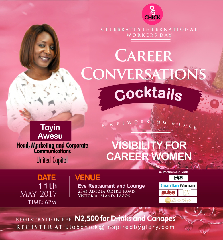 The Premier Networking Event for Professional Women has arrived! Forbes West Africa Correspondent Peace Hyde, Senior Special Assistant Lagos State Ministry Women's Affairs Chioma Dike and Head Marketing and Communications Toyin Awesu to speak to 9to5 Chick Networking Mixer