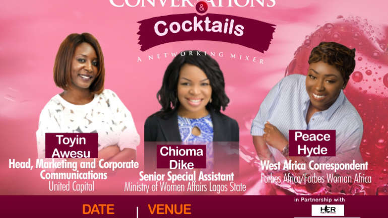 Forbes West Africa Correspondent Peace Hyde, Senior Special Assistant Lagos State Ministry Women's Affairs Chioma Dike and Head Marketing and Communications Toyin Awesu to speak at 9to5 Chick Networking Mixer