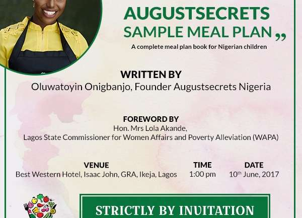 Augustsecrets Toyin Onigbanjo Set to Launch Meal Plan Book